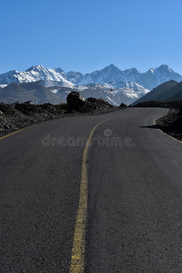 Auf der Straße zu EL Yeso, Chile stockfotos
