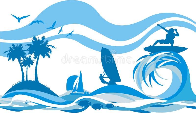 Auf der Welle - Wassersport und -erholung stock abbildung