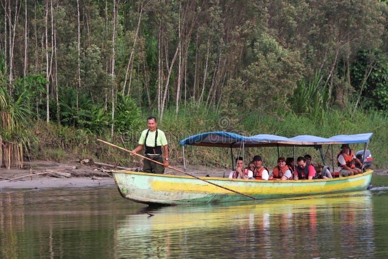 Auf einem Fluss von Amazonas-Gebiet stockfotos