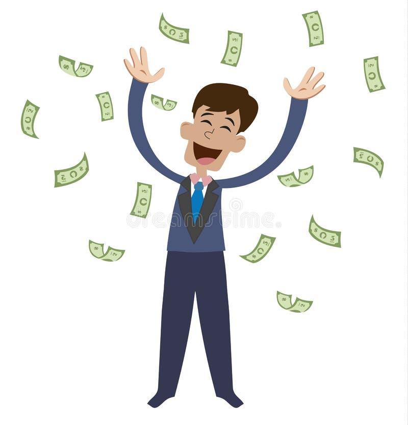 Auf einem Mann sind fallende Haushaltpläne Froher Geschäftsmann, der vom Glück springt stock abbildung