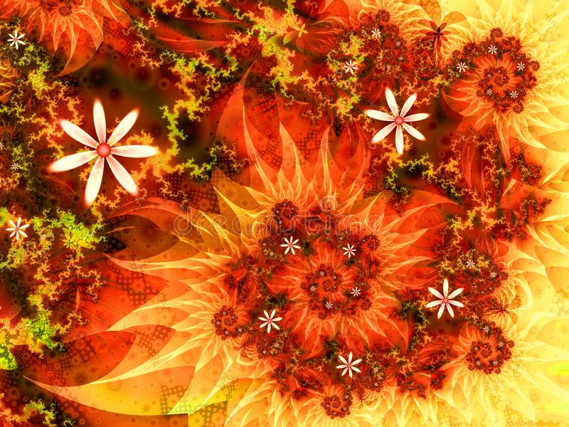 Auf Feuer organischer Blumenfractal-Strudelillustration stock abbildung