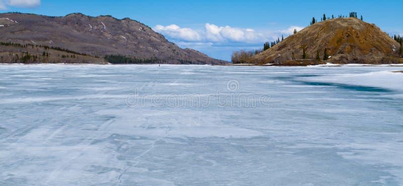 Auf gefrorenem See Laberge Ski fahren, Yukon, Kanada lizenzfreies stockbild