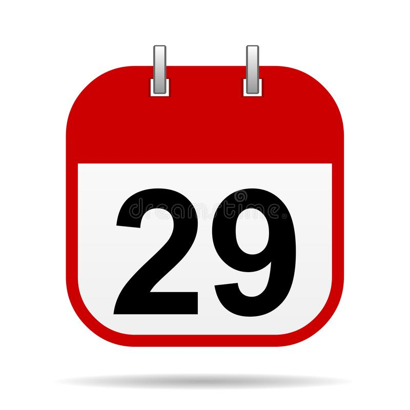 29 auf Kalenderikone lizenzfreie abbildung