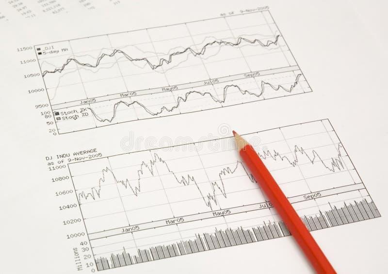 Auf lager Diagramme und Bleistift stockfotografie