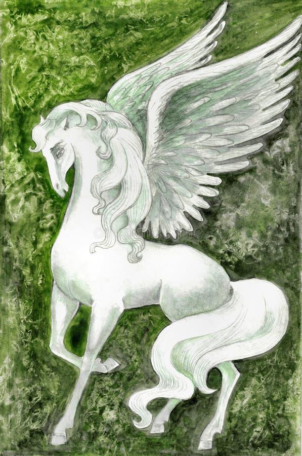 Auf Lager Sie Abbildung von weißem Pegasus vektor abbildung