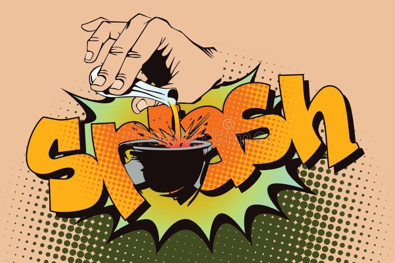 Auf lagerabbildung Art der Pop-Art und der alten Comics Handströmende Flüssigkeit von einem Reagenzglas stock abbildung