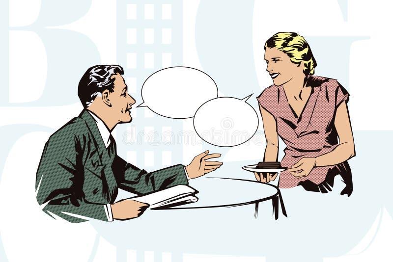 Auf lagerabbildung Leute in der Retrostilpop-art und in der Weinlesewerbung Kundencafés, die mit der Kellnerin sprechen stock abbildung