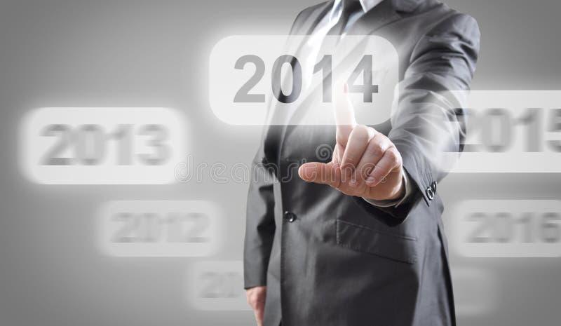 2014 auf Touch Screen lizenzfreies stockfoto