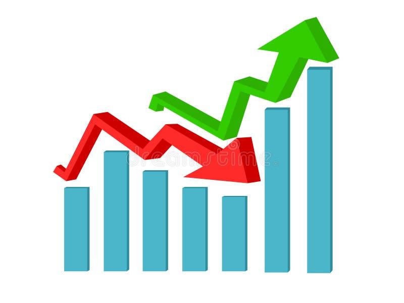 Auf und ab Pfeile Geschäftswachstum und Verlustkonzeptvektor lizenzfreie abbildung