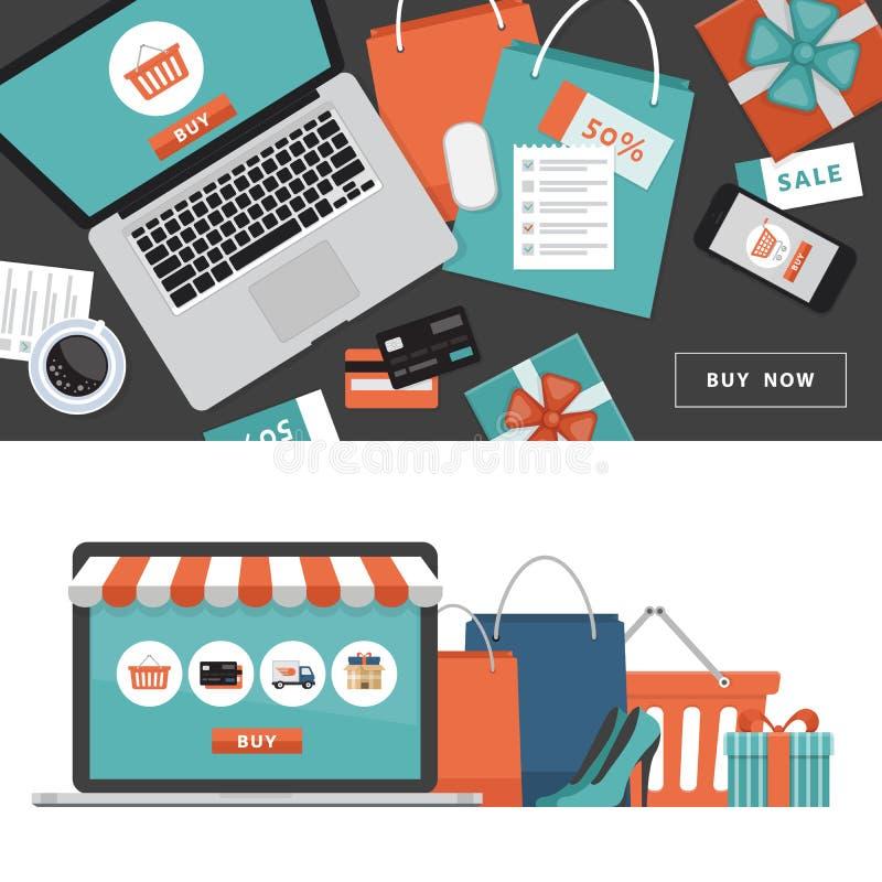 auf weißem background Online-Shop-Gegenstände und -fahne Tabelle mit Laptop, Einkaufstaschen, Kreditkarten, Geschenken und Kupons lizenzfreie abbildung