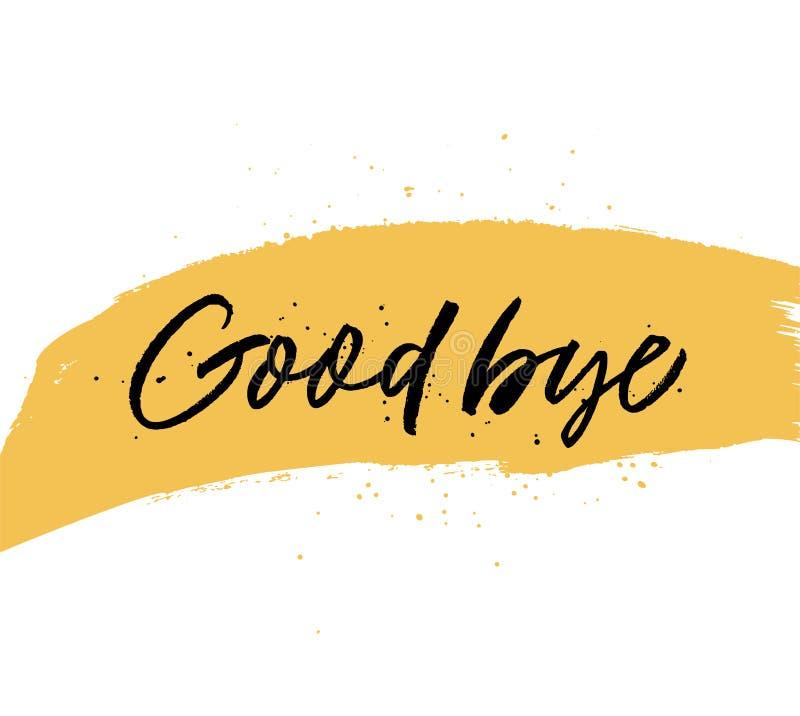 Auf Wiedersehen handgeschriebene schwarze Beschriftung des Zitats Moderne Kalligraphie der Vektortinte Handgezogener gelber Farbe lizenzfreie abbildung