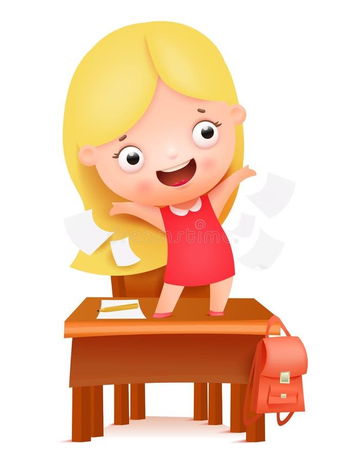 Auf Wiedersehen Schule, hallo Sommer Netter Karikaturmädchencharakter, der auf Schultabelle stnding ist vektor abbildung