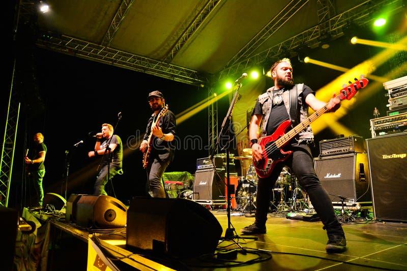 Auf Wiedersehen zum Schwerkraftrockband Live auf Stadium lizenzfreies stockfoto