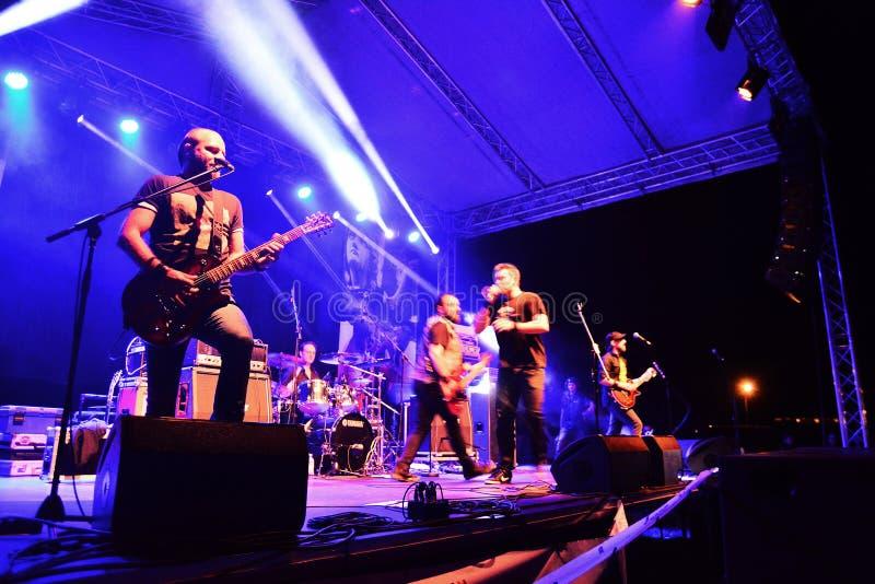 Auf Wiedersehen zum Schwerkraftrockband Live auf Stadium lizenzfreie stockbilder