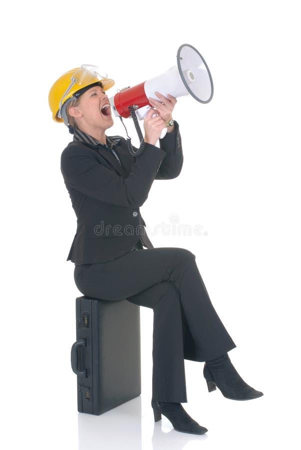 Aufbauüberwachungsprogrammfrau stockfotografie