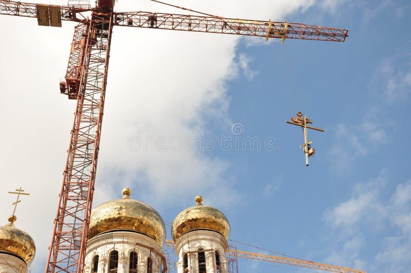 Aufbau eines Tempels stockfotografie