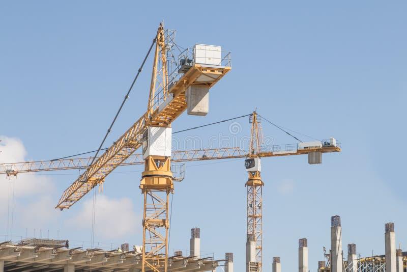 Aufbau-Kran von oben stockbild