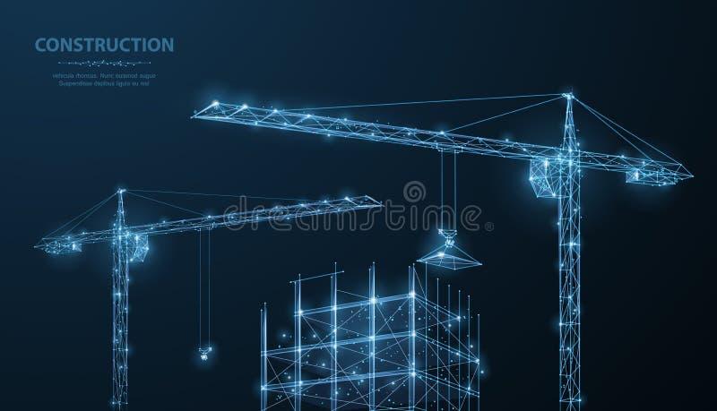 aufbau Polygonales wireframe Gebäude unter crune auf dunkelblauem nächtlichem Himmel mit Punkten, Sterne stockbild