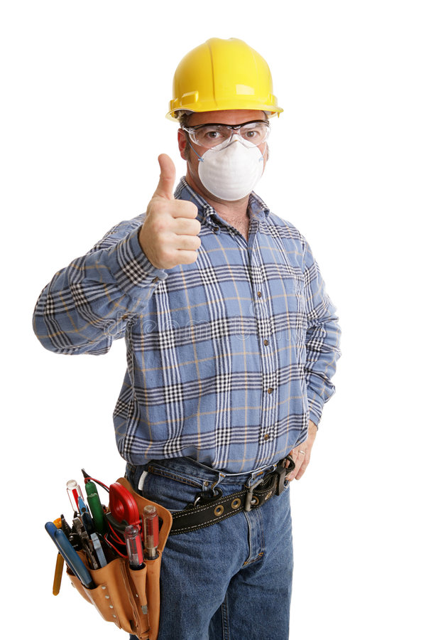 Aufbau-Sicherheit Thumbsup stockfotos