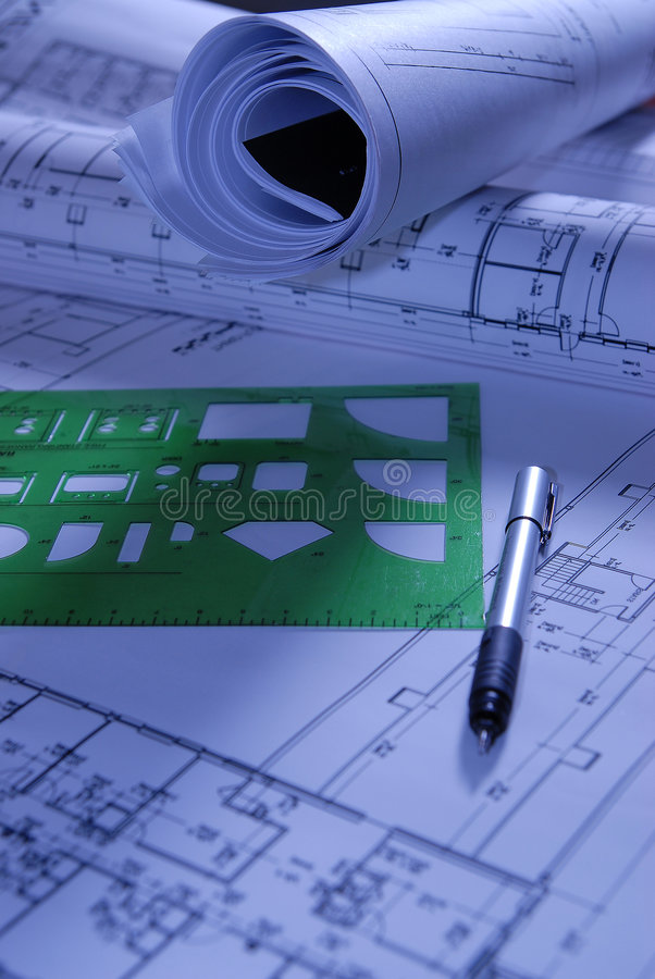 Aufbauauslegungpapiere mit Anleitung lizenzfreies stockfoto