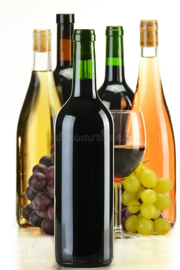 Aufbauflaschen Wein der unterschiedlichen Sortierung lizenzfreie stockfotos