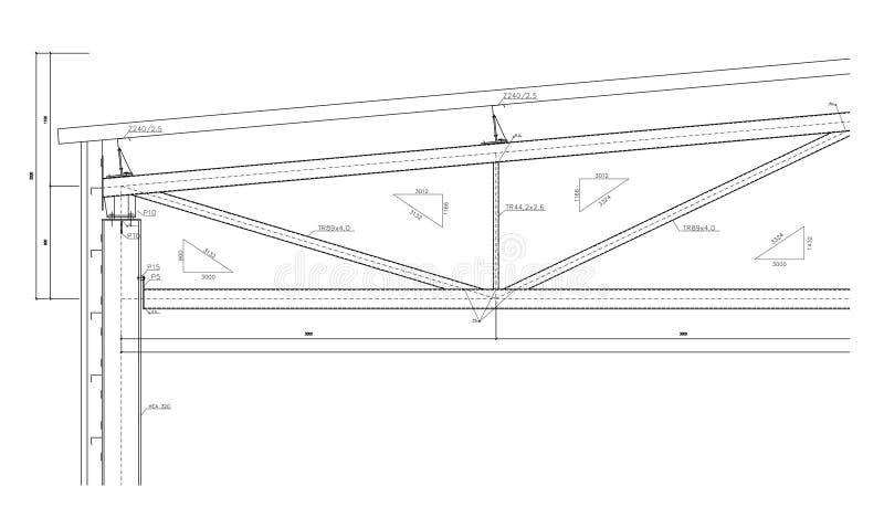 Aufbauzeichnung, Stahlbinder stockbild