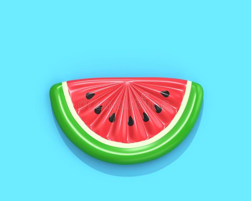 Aufblasbare Wassermelonenscheibe auf blauem Hintergrund mit Ausschnittsklaps stock abbildung