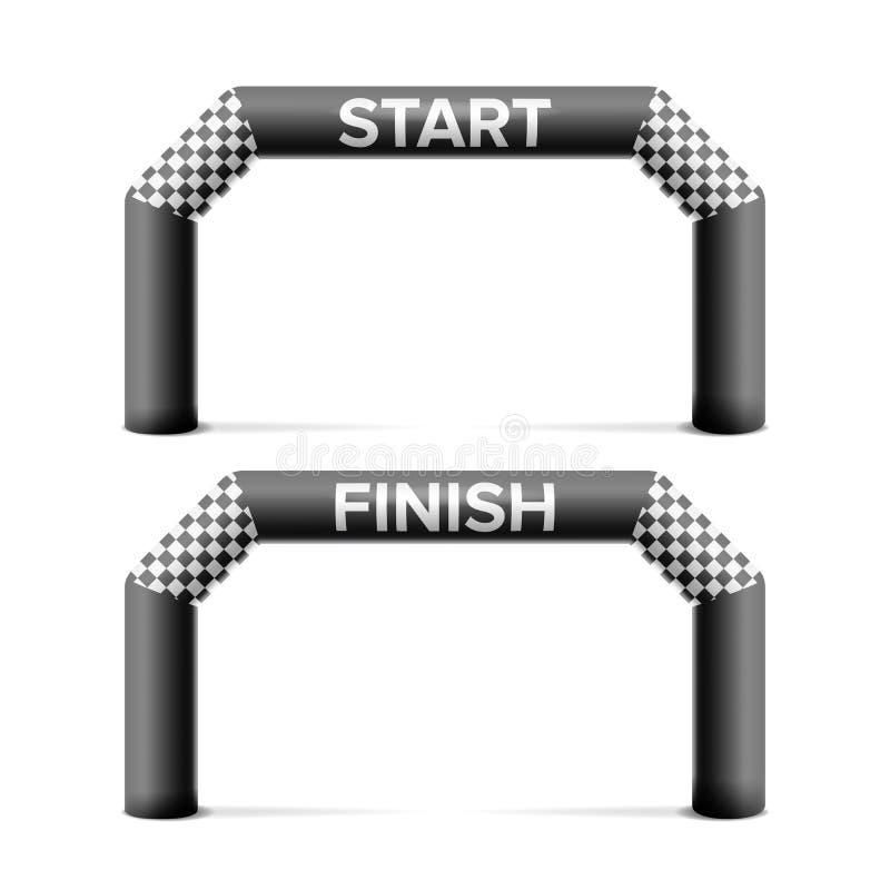 Aufblasbarer Anfang, Ziellinie-Bogen-Vektor Platz für die Sponsor-Werbung Lokalisiert auf weißer Illustration vektor abbildung