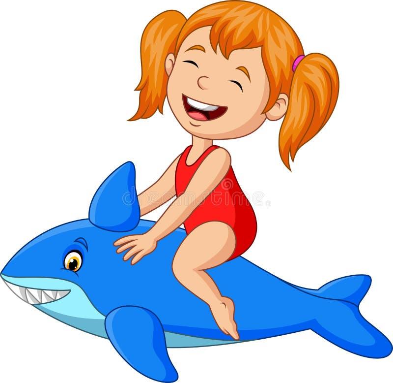 Aufblasbarer Haifisch des kleinen Mädchens der Karikatur Reit lizenzfreie abbildung