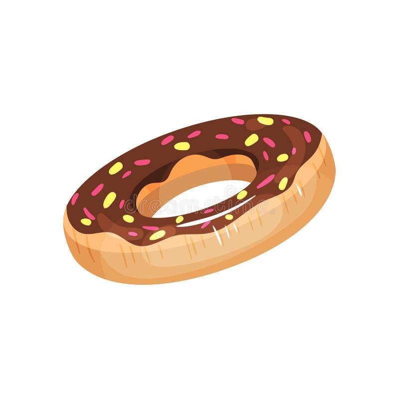 Aufblasbarer Kreis in Form des Donuts mit Glasur Aufblasbares Spielzeug der Kind s für das Schwimmen im Pool Gummiring flach vektor abbildung