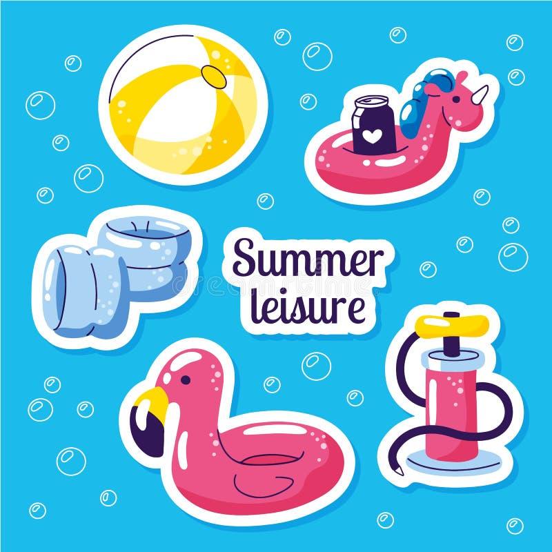 Aufblasbarer schwimmender Flosssatz Netter Wasserspielwarenflamingo, Ball, Einhornflöße Strandfestvektor-Sommeraufkleber Pool stock abbildung
