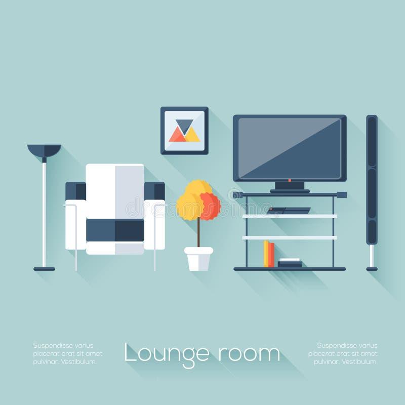 Aufenthaltsraum-oder Wohnzimmer-Abdeckung mit Fernsehen, Konsole, Sofa, Lautsprecher und Lampe Flache Art mit langen Schatten Mod lizenzfreie abbildung