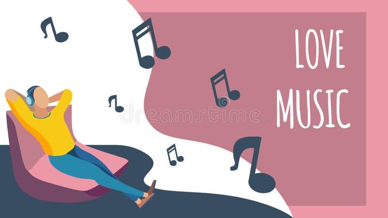 Aufenthaltsraum-Zone, musikalische Entspannungs-Bruch-flache Fahne lizenzfreie abbildung