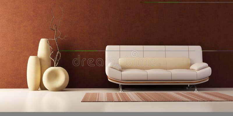Aufenthaltsraumraum mit Couch und Vasen lizenzfreie abbildung