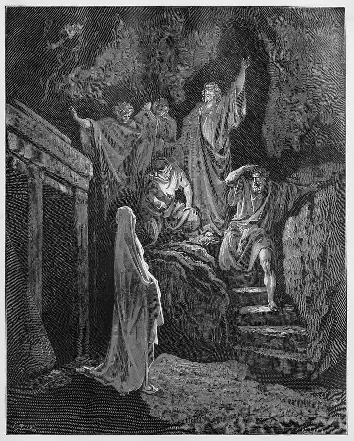 Auferstehung von Lazarus durch Jesus lizenzfreie abbildung