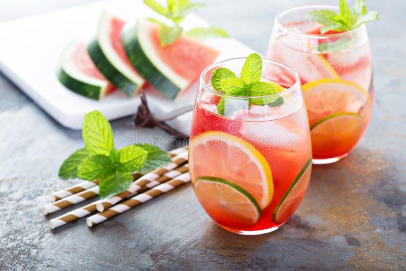 Auffrischungscocktails des Sommers mit Wassermelone lizenzfreies stockfoto