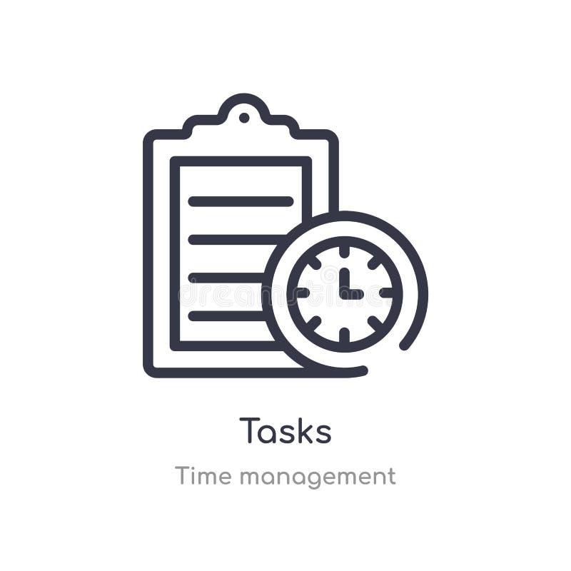 Aufgabenentwurfsikone lokalisierte Linie Vektorillustration von der Zeitmanagementsammlung editable Haarstrichaufgabenikone auf W lizenzfreie abbildung