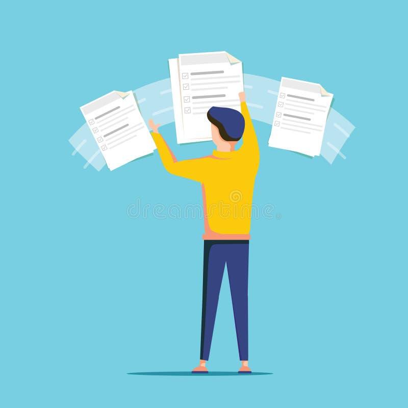 Aufgabenleistung, on-line-Management auf dem Service-Schreibtisch, Brett Bewegliches Dateidokument des netten Karikaturmanagers w lizenzfreie abbildung