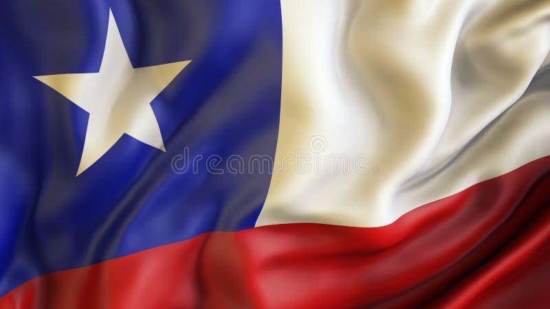 Aufgeben der Flagge von Chile, Chile lizenzfreie abbildung