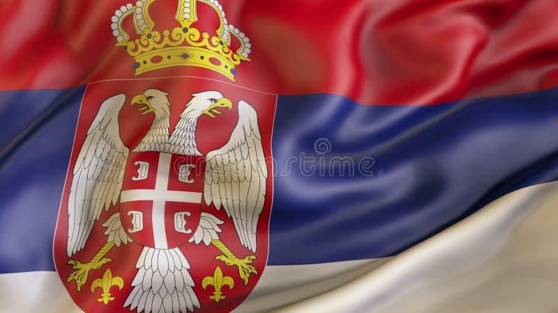 Aufgeben der Flagge von Serbien, atriot von Serbien lizenzfreie abbildung