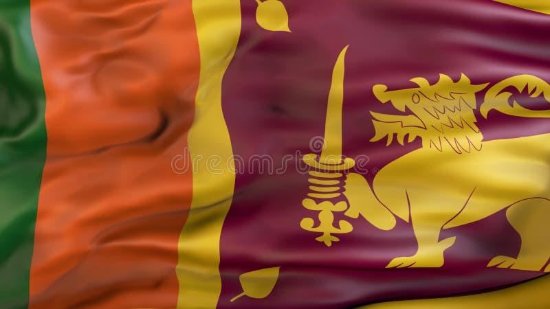 Aufgeben der Flagge von Sri Lanka lizenzfreie abbildung