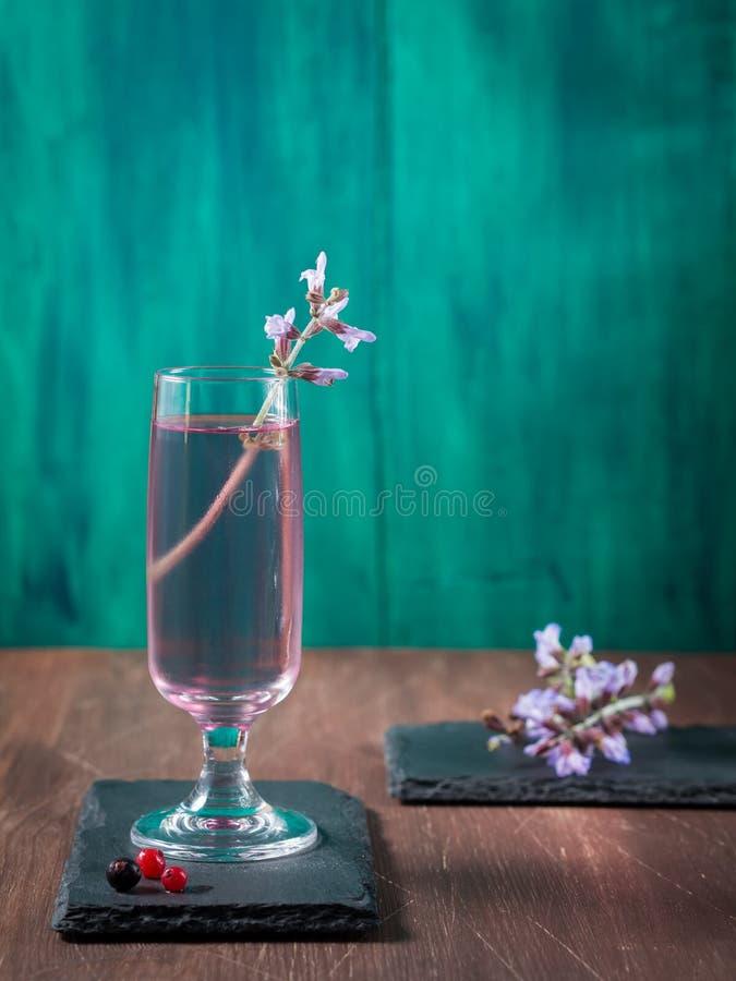 Aufgehaltenes Glas mit violettem Getränk lizenzfreies stockbild