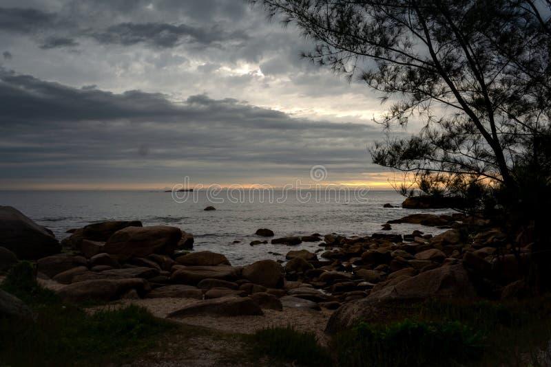 Aufgehende Sonne mit Wellen und Bäumen stockfotografie