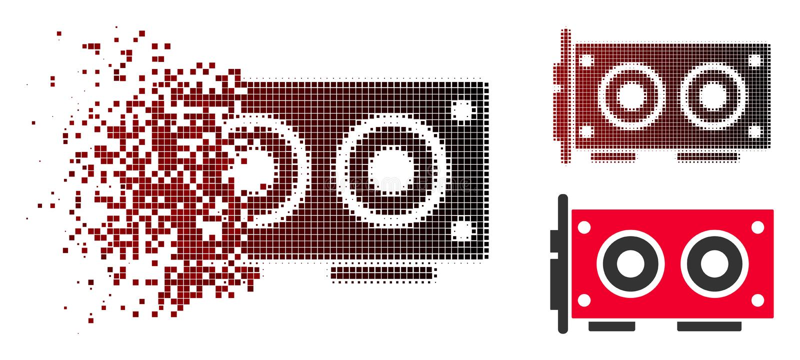 Aufgelöste Dot Halftone Video Graphics Card-Ikone lizenzfreie abbildung