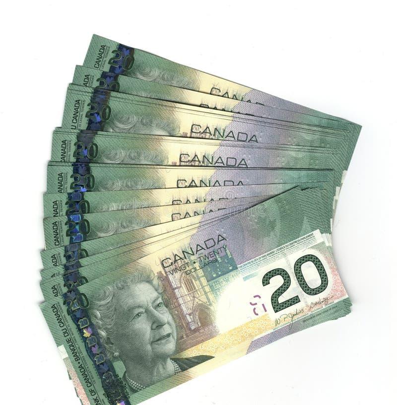 Aufgelockerter heraus Kanadier Zwanzig Dollarscheine lizenzfreies stockfoto