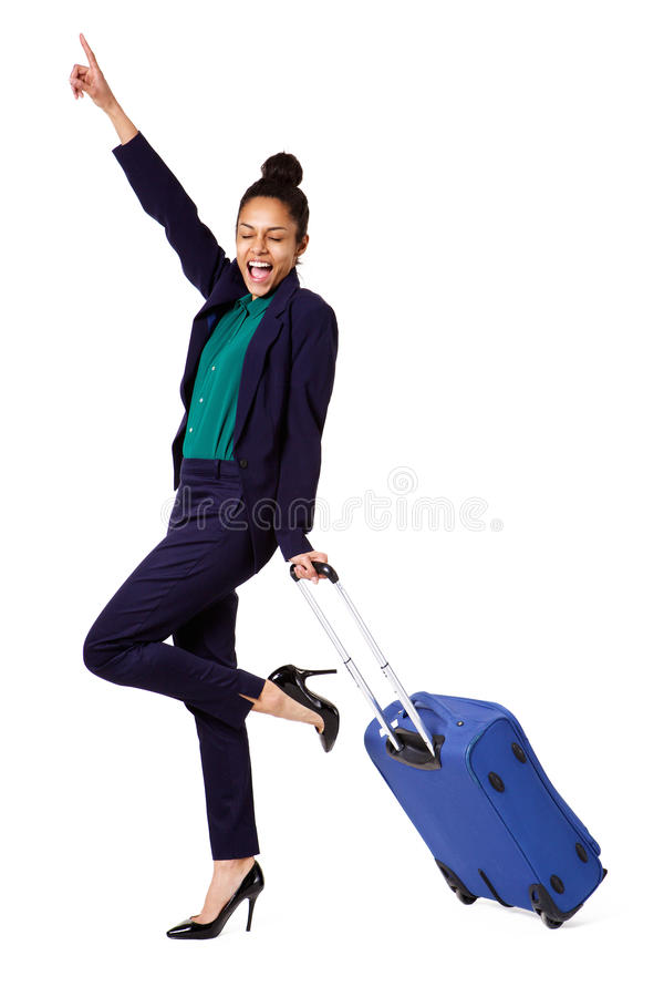 Aufgeregte Geschäftsfrau mit Reisetasche lizenzfreie stockbilder