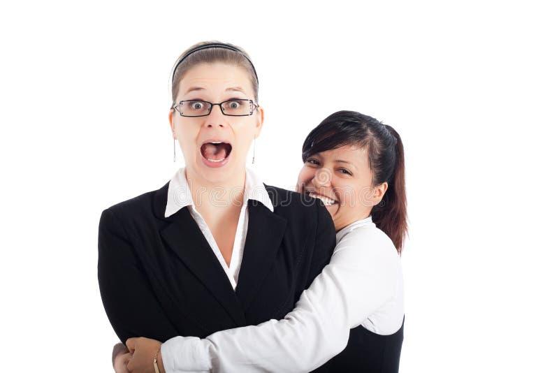 Aufgeregte Geschäftsfrauen lizenzfreies stockbild