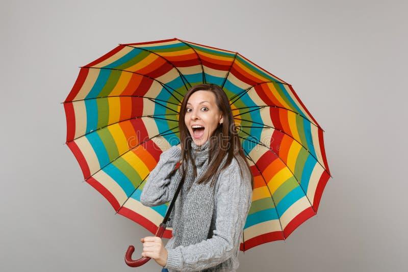 Aufgeregte junge Frau in der grauen Strickjacke, Schal, der offenen haltenen bunten Regenschirm des Munds lokalisiert auf grauem  stockbild