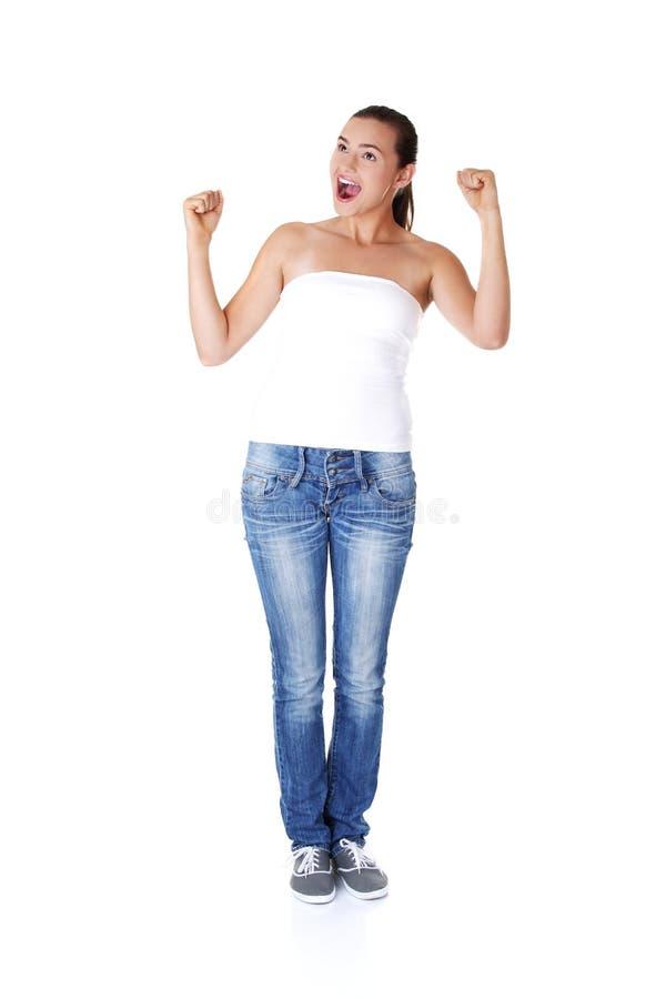 Download Aufgeregte Junge Frau Mit Den Fäusten Oben Stockfoto - Bild von ermittlung, brunette: 27730462