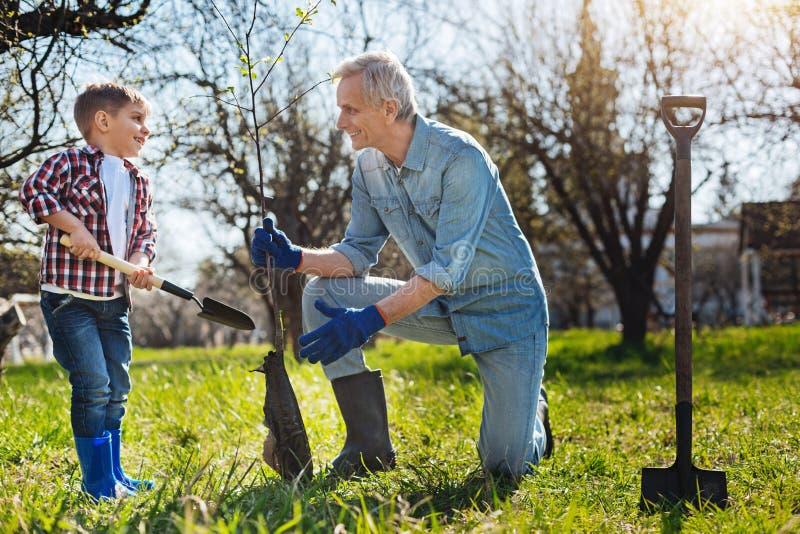 Aufgeregter älterer Gärtner- und Kindereinstellungsbaum im Garten stockfotos